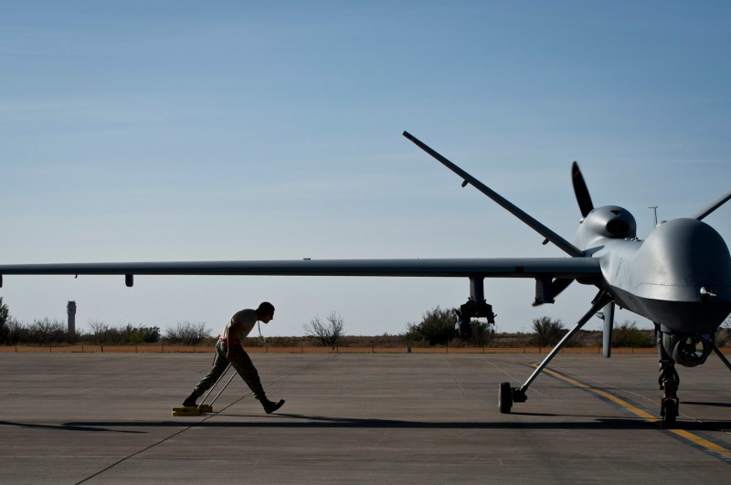 A U.S. MQ-9 Reaper drone, the type of drone that could be sold to the United Arab Emirates, is seen at Holloman Air Force Base, New Mexico on April 25, 2013.