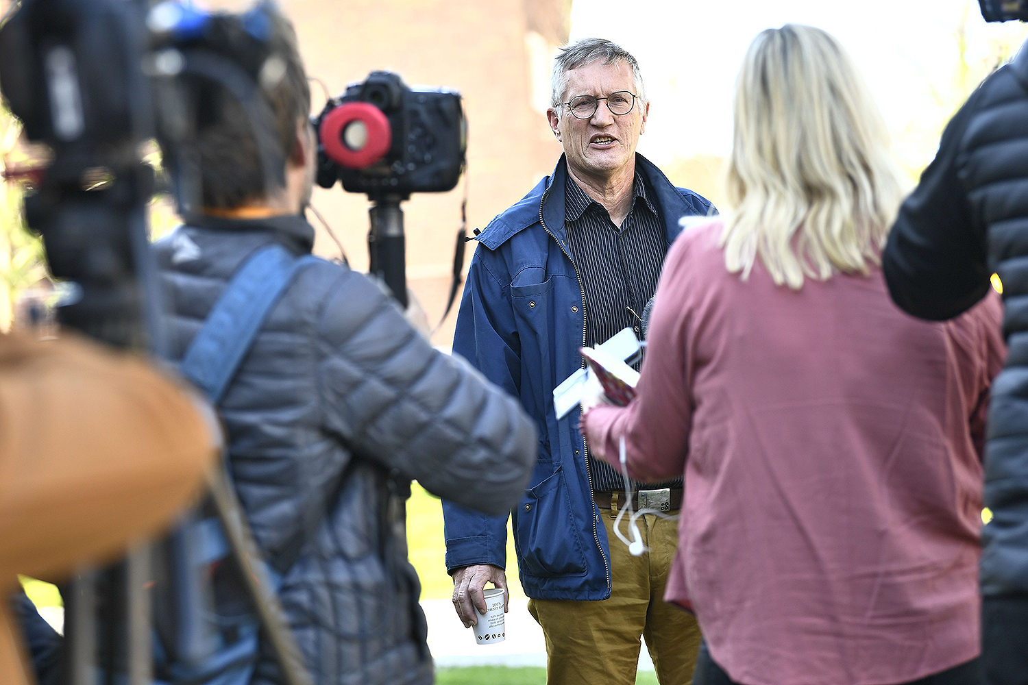 State epidemiologist Anders Tegnell of the Public Health Agency of Sweden talks to reporters after a news conference in Stockholm on May 6.