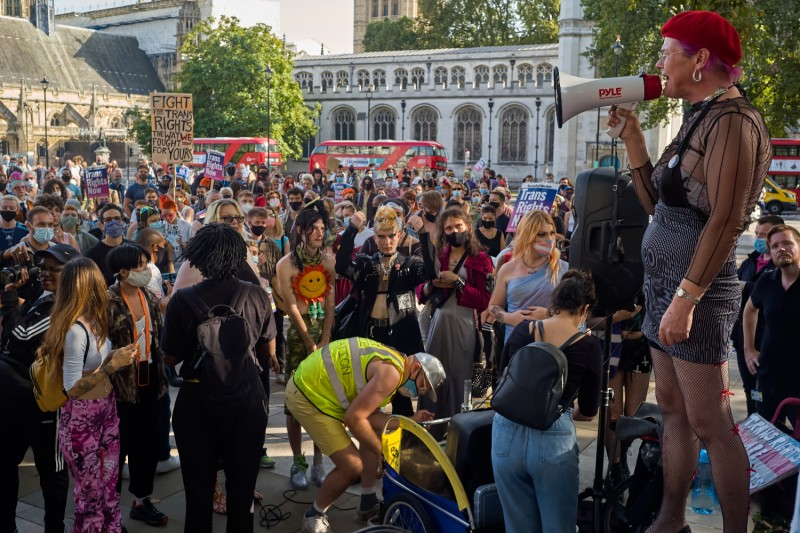 An activist speaks at a Trans+ Pride rally in London