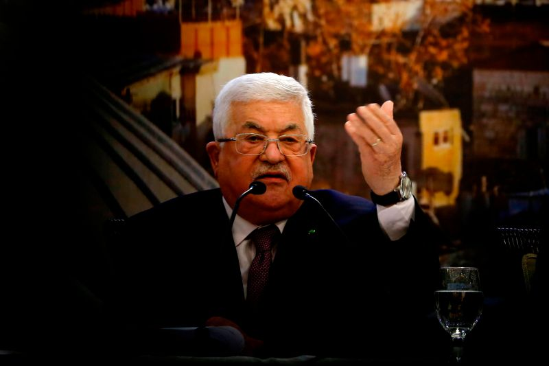 Palestinian President Mahmud Abbas delivers a speech in the West Bank city of Ramallah on Jan. 28, 2020.