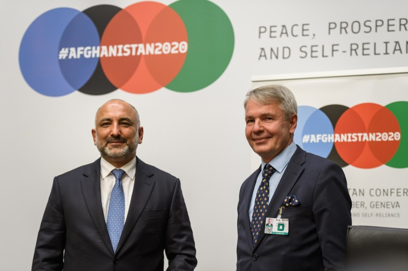 Afghan Foreign Minister Hanif Atmar and Finnish Foreign Minister Pekka Haavisto