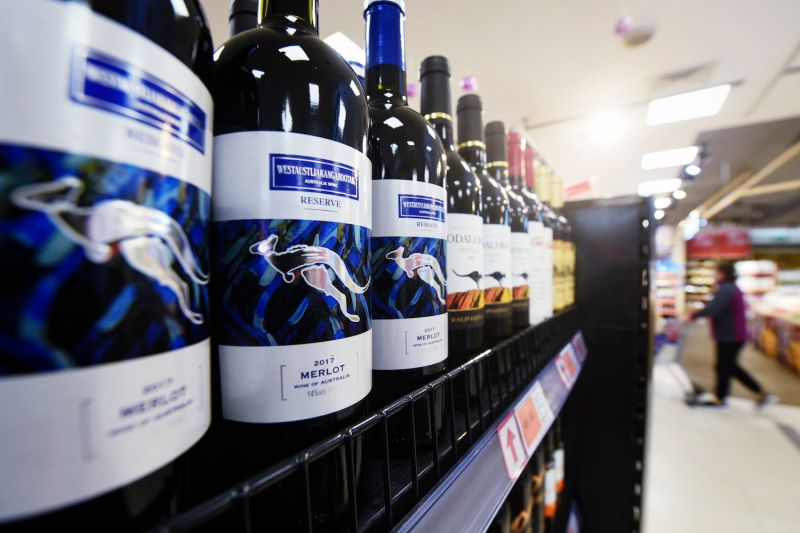 Bottles of Australian wine are displayed at a supermarket in Hangzhou, China, on Nov. 27.