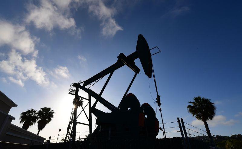 An oil pumpjack operates near Los Angeles, California on April 21.