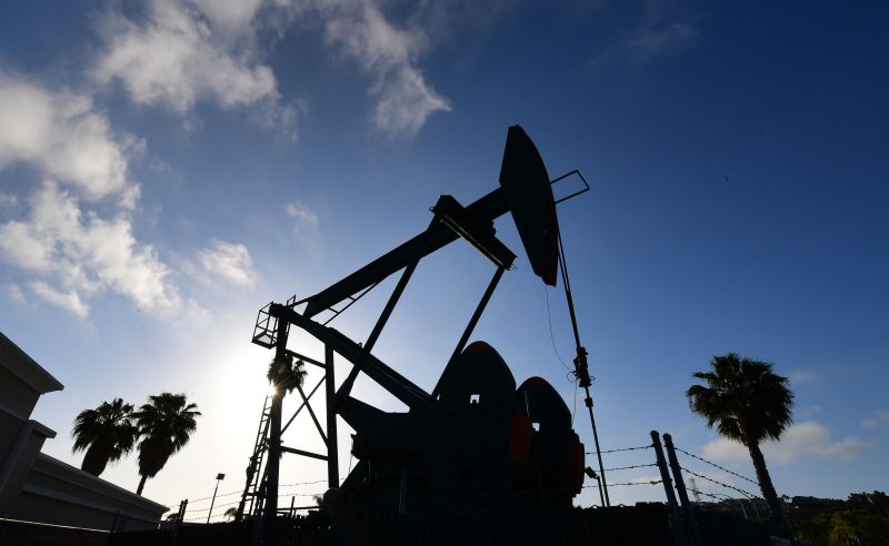 An oil pumpjack operates near Los Angeles, California on April 21.