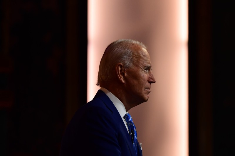 U.S. President-elect Joe Biden delivers a Thanksgiving address at the Queen Theatre in Wilmington, Delaware, on Nov. 25.