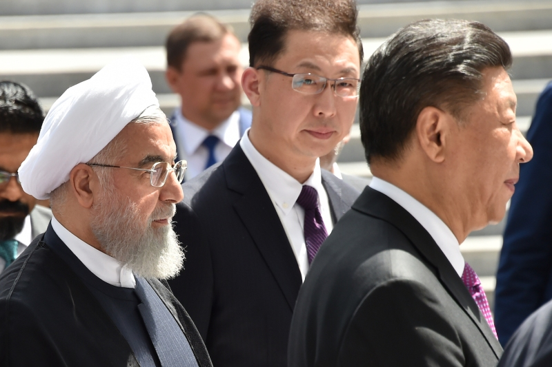 Iran's President Hassan Rouhani and Chinese President Xi Jinping at a meeting of the Shanghai Cooperation Organization in Bishkek, Kyrgyzstan on June 14, 2019.