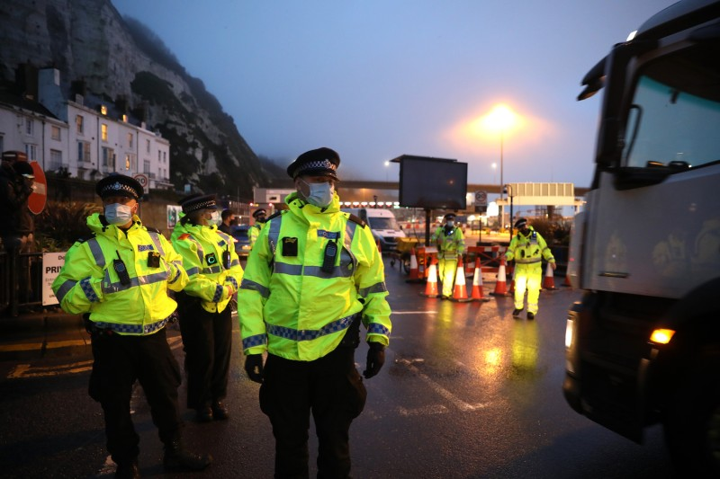 Police officers wait at the Port of Dover on December 23, 2020 in Dover, United Kingdom.