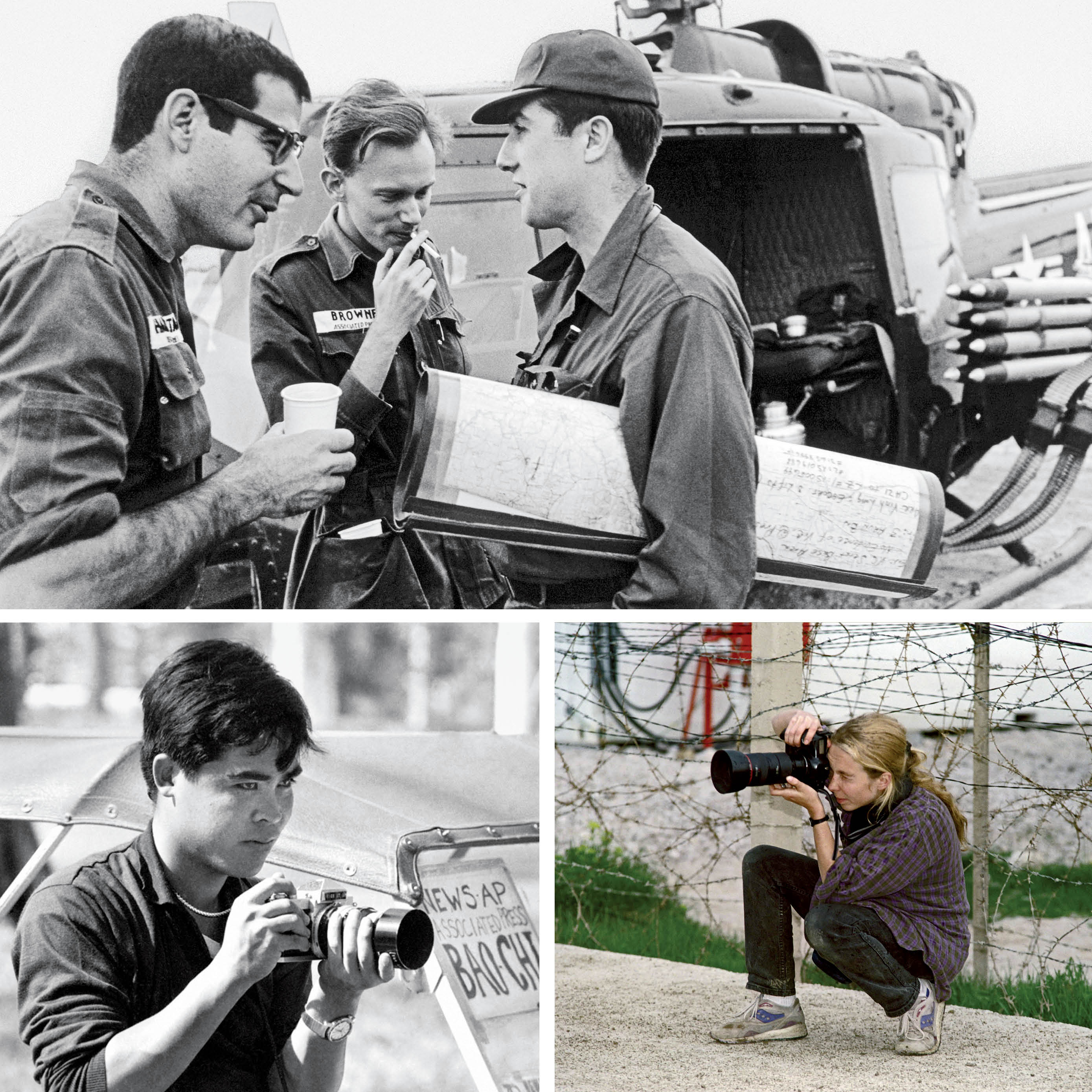 Top: <em>The New York Times</em>' David Halberstam (left), AP's Malcolm Browne (center), and Neil Sheehan of UPI in Vietnam's Mekong Delta in 1964. Bottom left: AP's Nick Ut in Saigon in an undated image. Bottom right: A photographer in Bosnia in 1993.