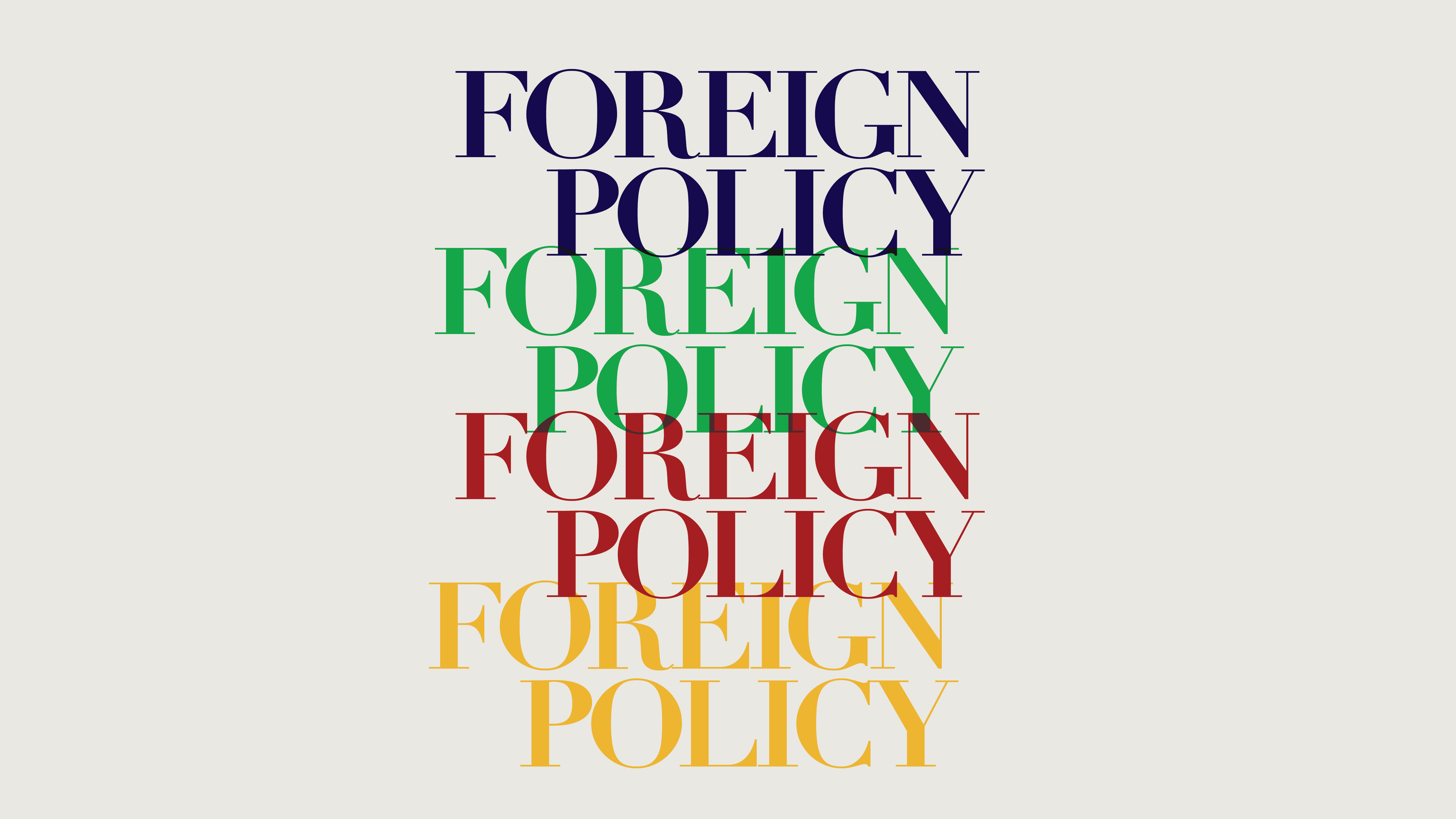 Early versions of Foreign Policy featured a narrow format and a different logo color for each season—blue for winter, green for spring, burgundy for summer, and yellow or brown for fall.