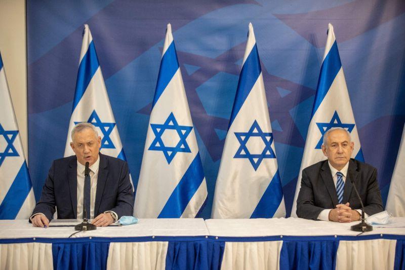 Israeli Prime Minister Benjamin Netanyahu and alternative Prime Minister and Defense Minister Benny Gantz