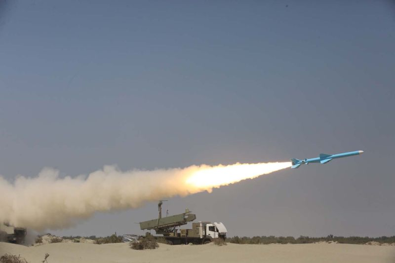 A handout picture provided by the Iranian Army's official website on Sept. 11, 2020, shows an Iranian Ghader missile being fired during a military exercise near the strategic strait of Hormuz in southern Iran.
