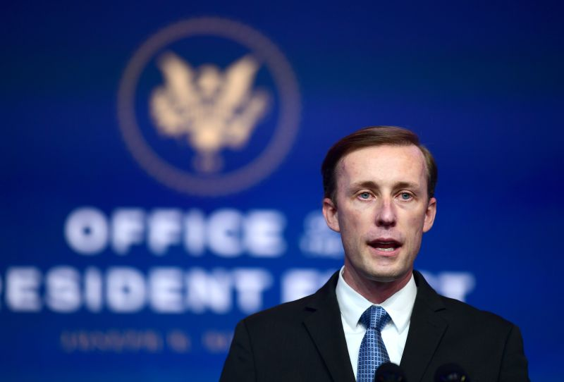 National Security Advisor nominee Jake Sullivan speaks after being introduced by President-elect Joe Biden at the Queen Theatre in Wilmington, Delaware, on Nov. 24.