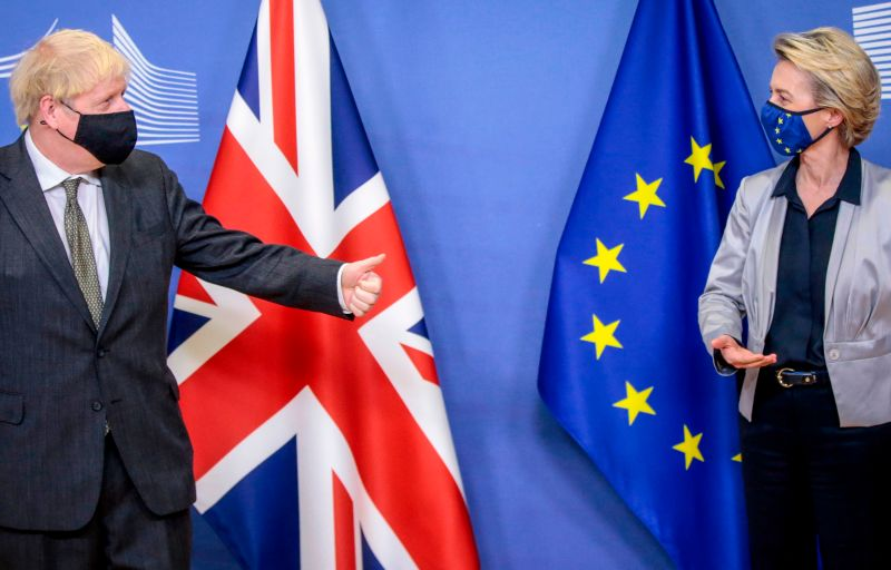 British Prime Minister Boris Johnson and European Commission President Ursula von der Leyen after Brexit talks at EU headquarters in Brussels on Dec. 9.