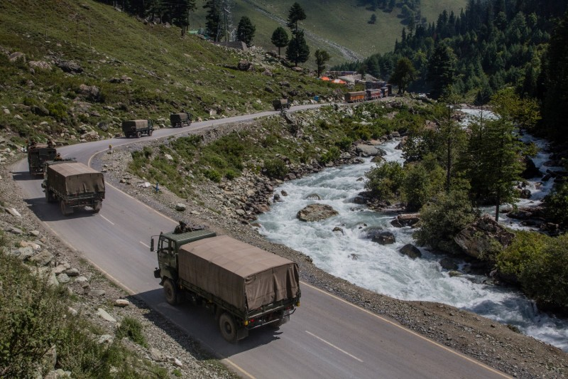 Indian Army convoys drive toward the town of Leh on a highway bordering China in Gagangir, India, on Sept. 2, 2020.