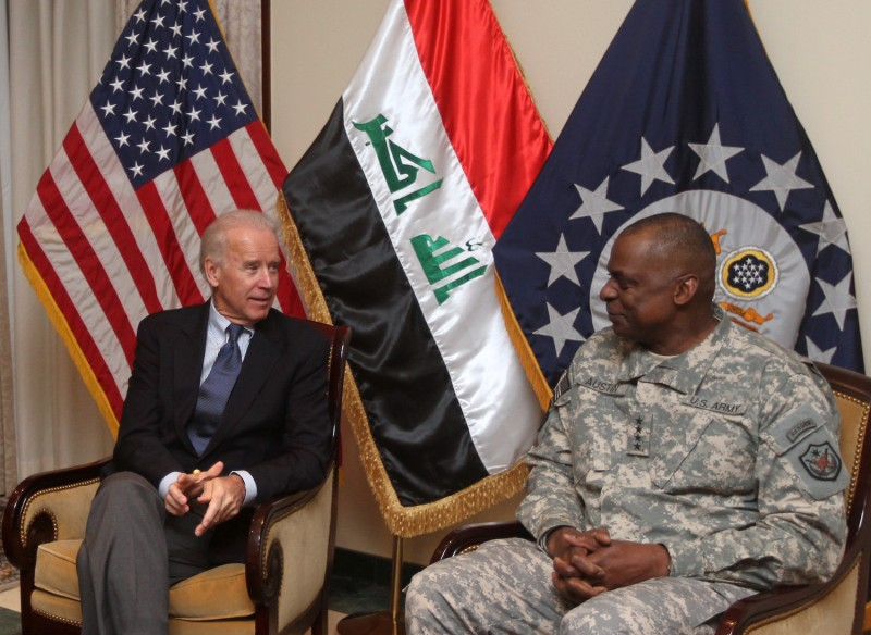 U.S. Vice President Joe Biden meets with General Lloyd Austin, the commander of United States Forces Iraq (USF-I) in Baghdad on a surprise visit on November 29, 2011.