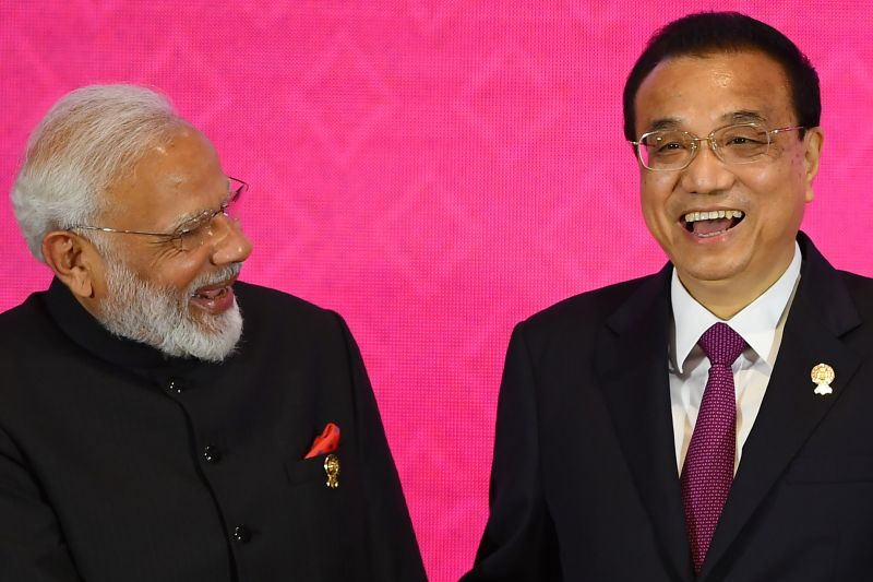 Indian Prime Minister Narendra Modi and Chinese Premier Li Keqiang during the Regional Comprehensive Economic Partnership (RCEP) summit in Bangkok on Nov. 4, 2019.