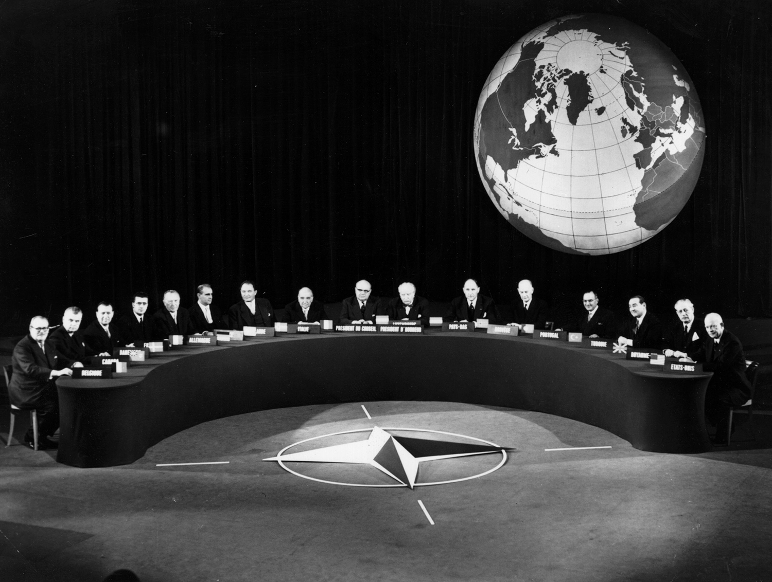Delegates at the NATO conference at Paris on Dec. 19, 1957.