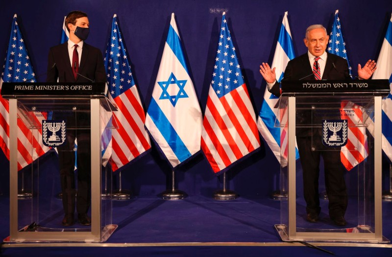 Israeli Prime Minister Benjamin Netanyahu speaks during a press conference with U.S. presidential adviser Jared Kushner in Jerusalem on December 21, 2020.