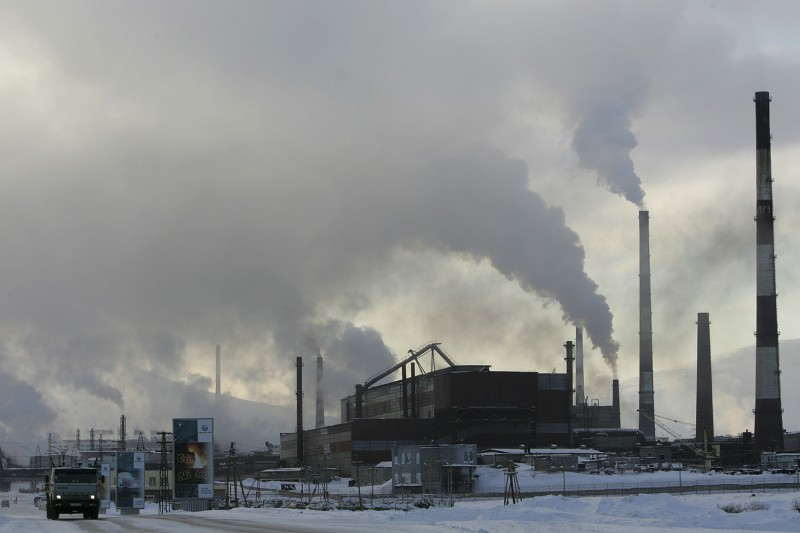 Smoke spews from the stacks of a nickel plant in Monchegorsk, Russia