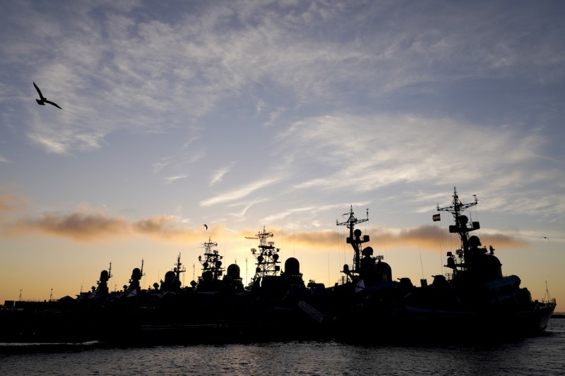 Warships moored at the Russian Baltic Fleet base in Baltiysk, Russia, on Nov. 21.