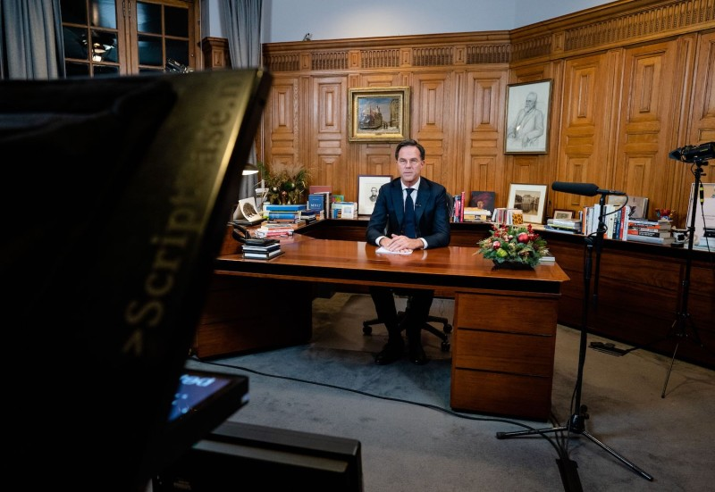 Prime Minister Mark Rutte adresses the nation  about new measures against COVID-19, in The Hague, on December 14, 2020.