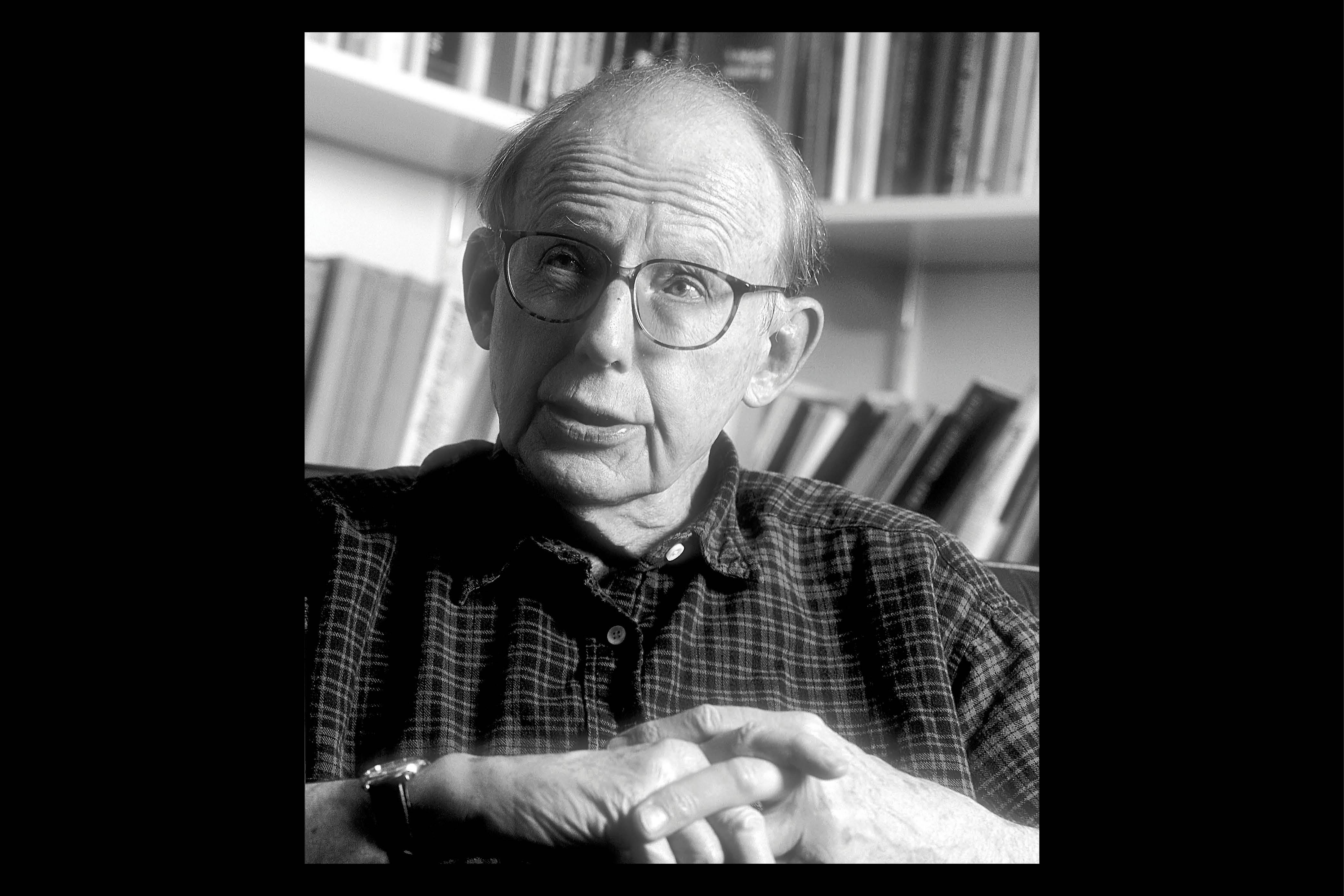 Samuel P. Huntington in his office at Harvard University in 1996.