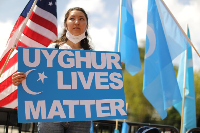 Supporters and members of the East Turkistan National Awakening Movement rally outside the White House to urge the United States to end trade deals with China and take action to stop the oppression of the Uyghur and other Turkic peoples on Aug, 14, 2020 in Washington, DC. (Chip Somodevilla/Getty Images)