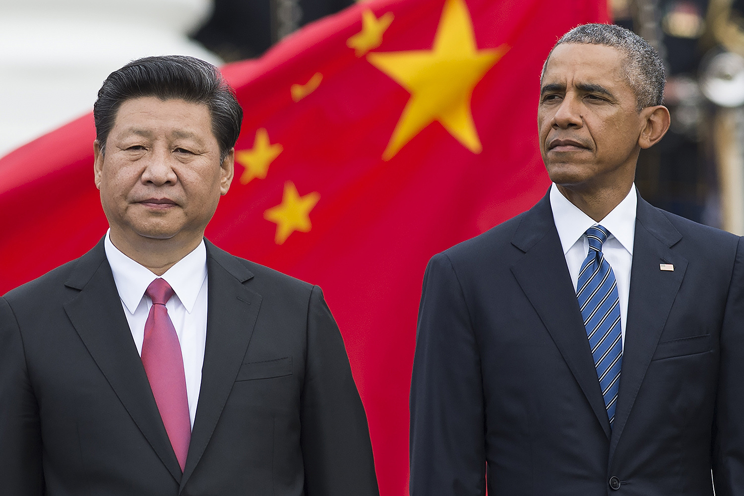 U.S. President Barack Obama and Chinese President Xi Jinping attend a State Arrival ceremony on the South Lawn of the White House in Washington, D.C., on Sept. 25, 2015.