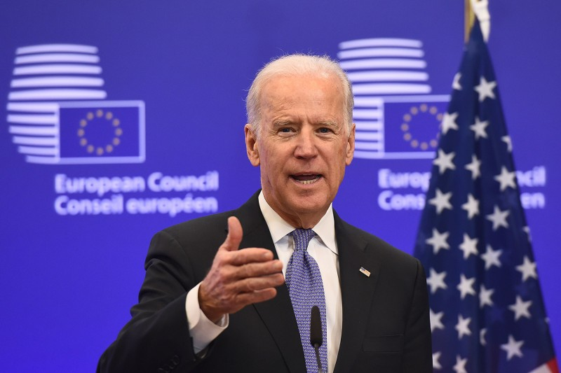 U.S. Vice President Joe Biden speaks at the European Union headquarters in Brussels on Feb. 6, 2015.