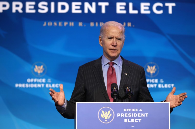 U.S. President-elect Joe Biden delivers remarks before announcing members of his economic team, including the secretaries of commerce and labor, in Wilmington, Delaware, on Jan. 8.