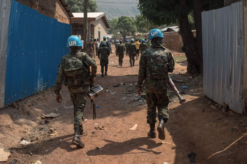 Soldiers with the United Nations stabilization mission in Central African Republic patrol in PK12 district, south of downtown Bangui, Central African Republic, on Jan. 13.