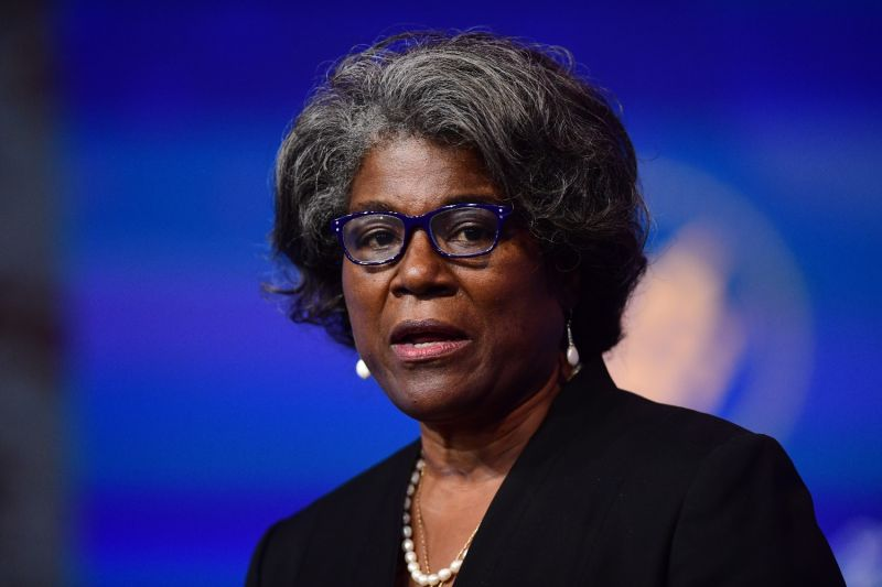 U.S. Ambassador to the United Nations nominee Linda Thomas-Greenfield speaks after being introduced by President-elect Joe Biden at the Queen Theatre in Wilmington, Delaware, on Nov. 24, 2020.