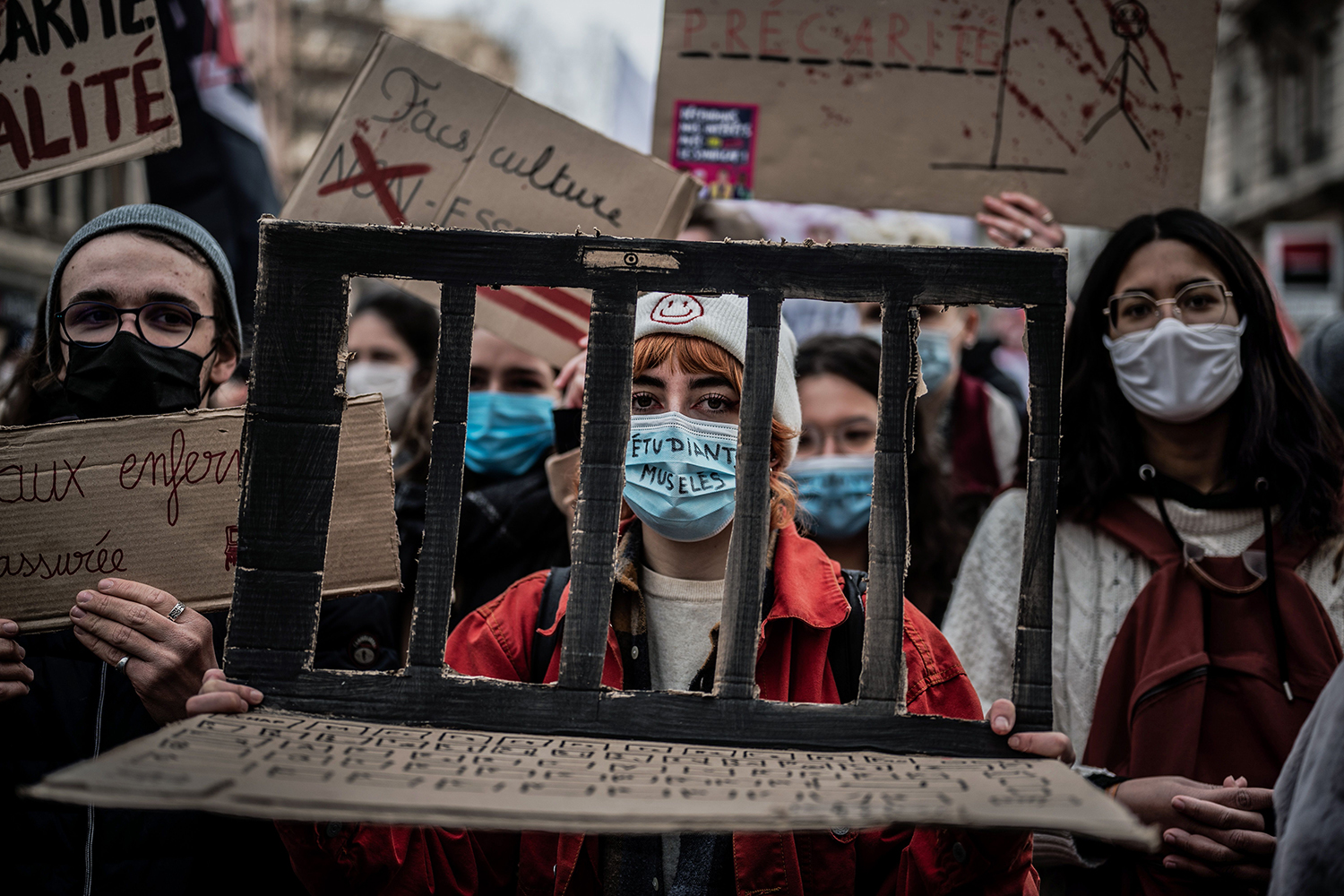 Students demonstrate during a nationwide strike over teacher salaries and the government's handling of the pandemic in Lyon, France, on Jan. 26. JEFF PACHOUD/AFP via Getty Images