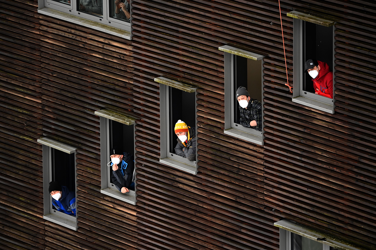 Referees watch ski jumpers during a qualification jump of the FIS Men's Ski Jumping World Cup in Willingen, western Germany, on Jan. 29. INA FASSBENDER/AFP via Getty Images