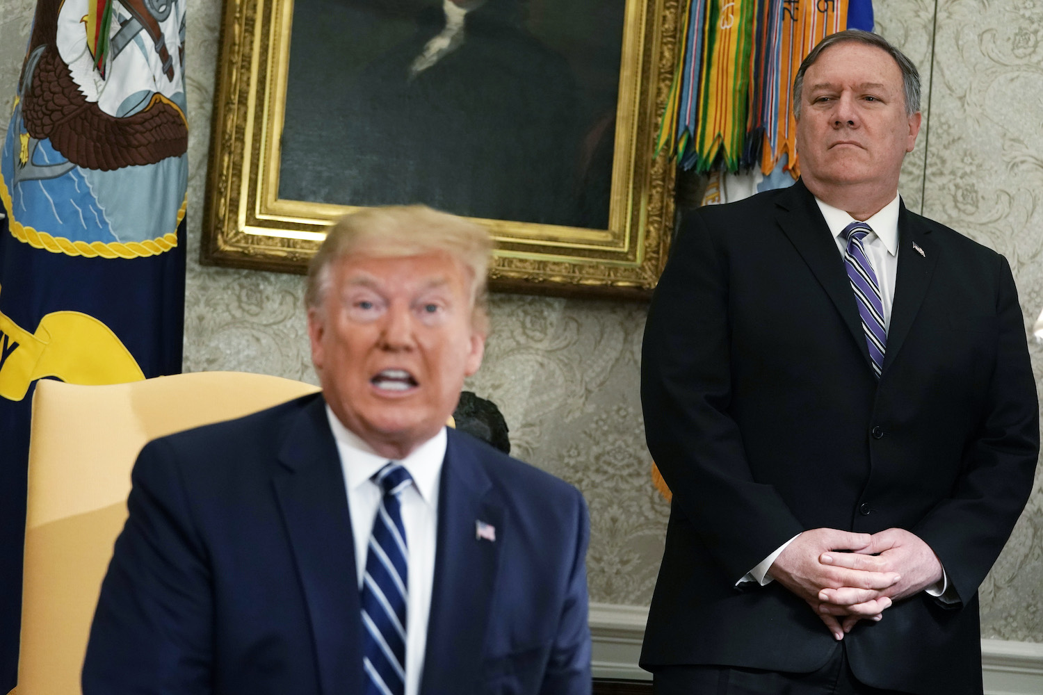 U.S. Secretary of State Mike Pompeo at the White House with President Donald Trump.
