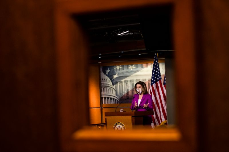 Speaker of the House Nancy Pelosi calls for the removal of President Donald Trump from office either by invocation of the 25th Amendment by Vice President Mike Pence and a majority of the Cabinet members or Impeachment at the U.S. Capitol on January 7, 2021 in Washington, DC.