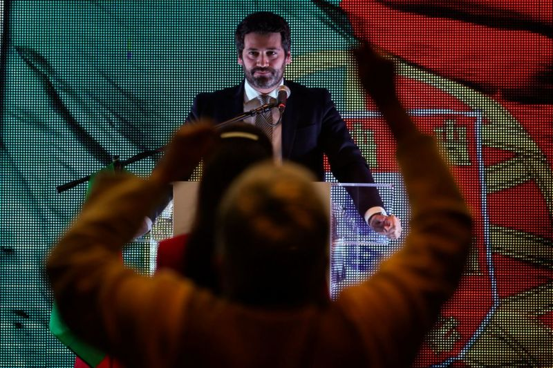 André Ventura, the leader of Chega, delivers a speech in Lisbon on Jan. 24.