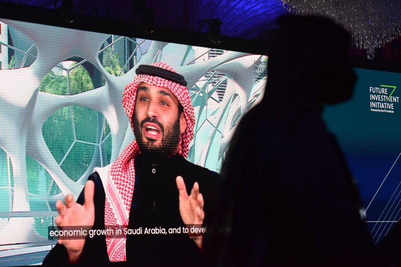 Saudi Crown Prince Mohammed bin Salman speaks during the Future Investment Initiative (FII) conference in a virtual session in the capital Riyadh, on Jan. 28, 2021.