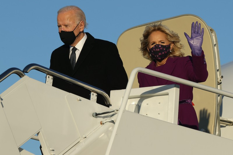 Then President-elect Joe Biden and Dr. Jill Biden step off their airplane after arriving at Joint Base Andrews the day before he was inaugurated as the 46th president of the United States January 19, 2021 at Andrews Air Force Base, Maryland.