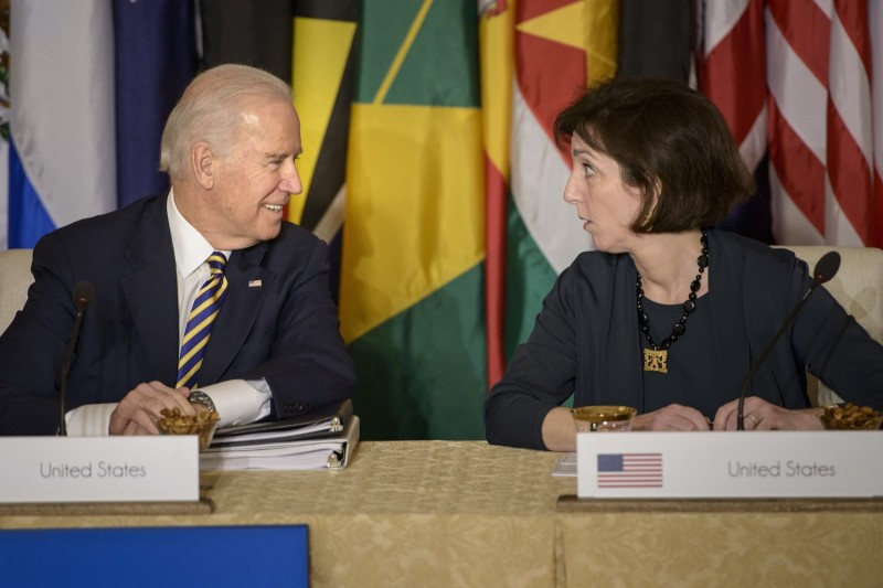 Then-U.S. Vice President Joe Biden and Assistant Secretary of State Roberta Jacobson
