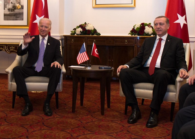 Joe Biden attends a meeting with President Recep Tayyip Erdogan of Turkey on the sidelines of the nuclear summit in Washington on March 31, 2016.