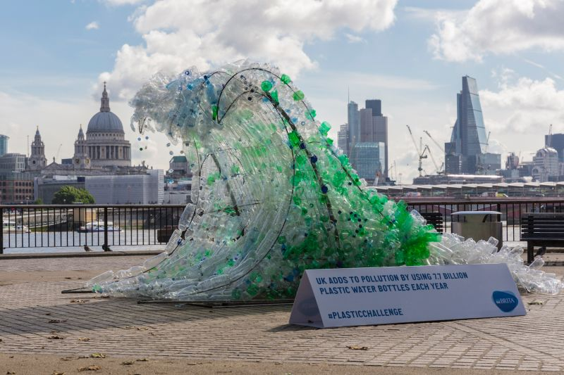 The Wave sculpture by Wren Miller commissioned to launch Brita's sustainability campaign is on display in London on June 15, 2016.