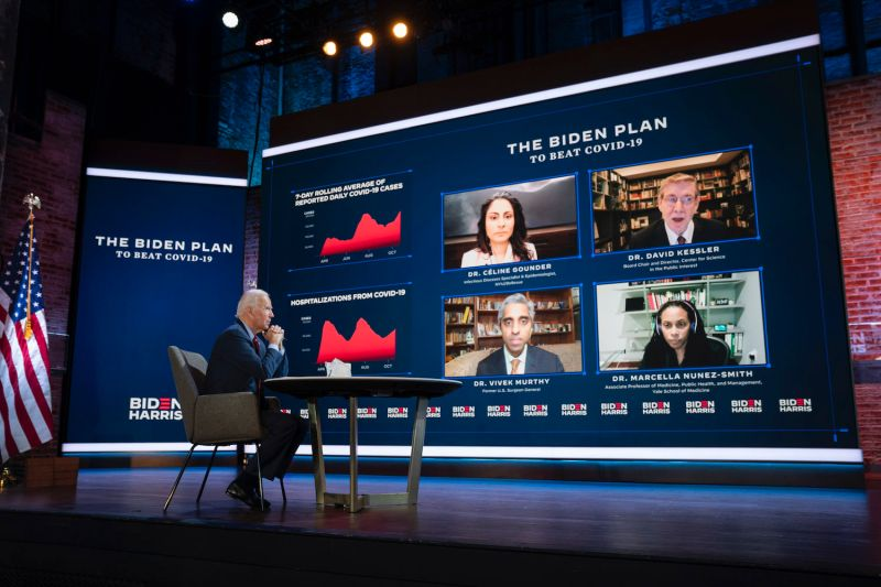 Joe Biden attends a COVID-19 briefing at The Queen theater in Wilmington, Delaware on Oct. 28, 2020.