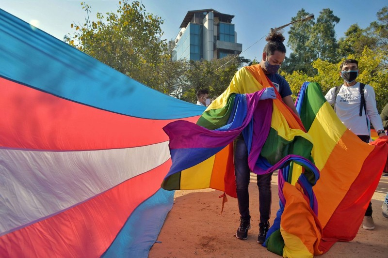 Gender rights activists gather to take part in Namma Pride 2020, a solidarity walk in Bengaluru, India, on Dec. 27, 2020.