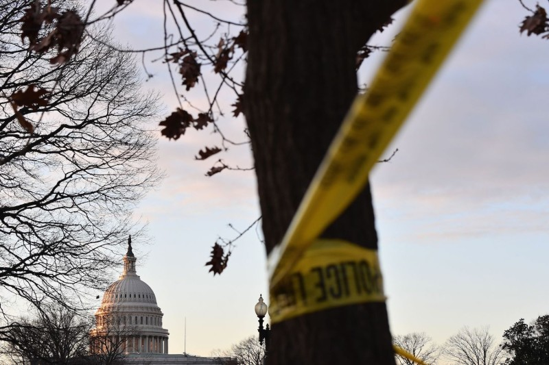 A view of the U.S. Capitol and police tape ahead of the inaugural ceremony for President-elect Joe Biden and Vice President-elect Kamala Harris in Washington on Jan. 19.