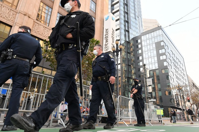Police erect barricades in anticipation of a protest outside Twitter corporate headquarters in San Francisco on Jan. 11.