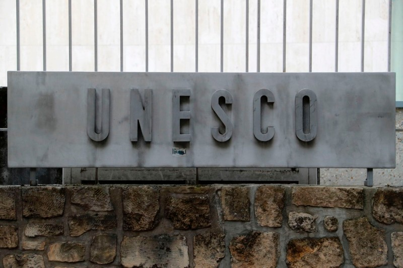The UNESCO logo is seen at the organization's headquarters in Paris on Oct. 12, 2017.