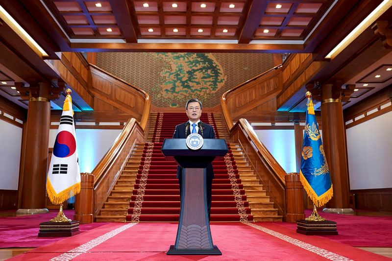 South Korean President Moon Jae-in speaks during his New Year's speech at the presidential Blue House in Seoul on Jan. 11.