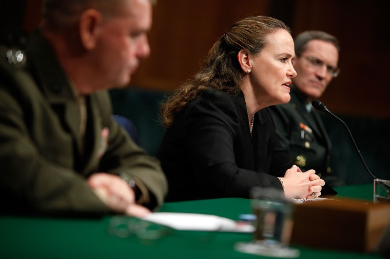 Michèle Flournoy testifies during a hearing before the U.S. Senate Armed Services Committee in Washington on Sept. 24, 2009.