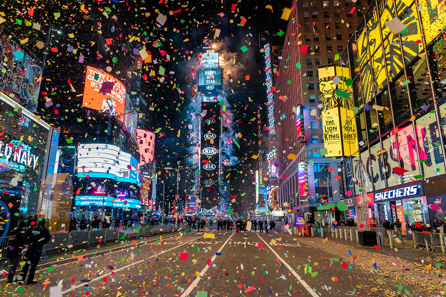 The ball drops to ring in the new year in a mostly empty Times Square in New York City on Jan. 1. COREY SIPKIN/AFP via Getty Images